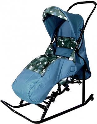 Санки-коляска RT Шустрик-Имго-6 на колесиках с горизонтальным положением спинки до 45 кг серый зеленый металл ткань