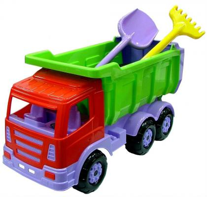 Купить Самосвал Wader Премиум с большой лопатой и большими граблями разноцветный 67 см 9851, Игрушечные машинки
