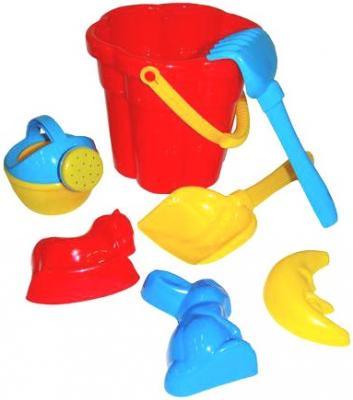 Купить Песочный набор Wader №317: Ведро-цветок среднее№3, лопатка №5, грабельки №5, формочки 7 предметов 35608, Ведерки, лопатки и формочки для детей