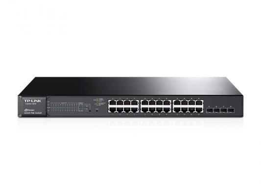 Коммутатор TP-LINK T1600G-28PS управляемый 24 порта 10/100/1000Mbps 24x8W PoE 4xSFP коммутатор tp link tl sg3424p управляемый l2 24 порта 10 100 1000mbps 24x13 3w poe 4xsfp
