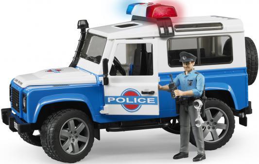 Внедорожник Bruder Land Rover Defender Station Wagon Полиция с фигуркой синий 28 см 02-595
