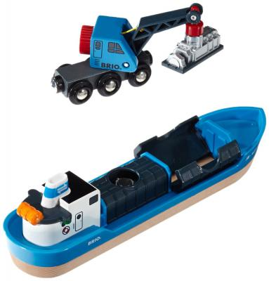 Игровой набор Brio с кораблем, краном-погрузчиком и грузом 33534
