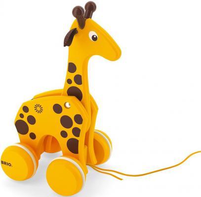 Каталка на шнурке Brio Жираф желтый от 1 года дерево