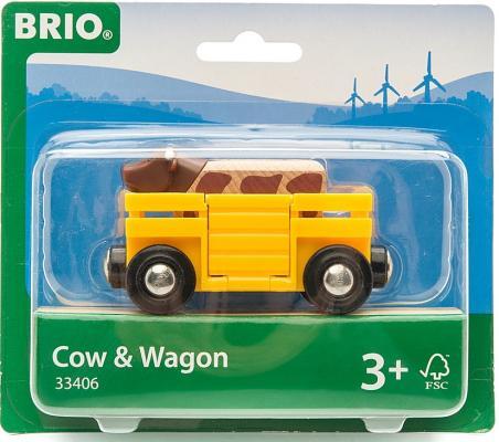 Вагон Brio с коровой машинки brio погрузчик с подъемником и фигуркой brio