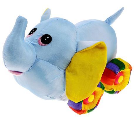 Мягкая игрушка слоненок Tongde Радужный транспорт голубой 25 см В72433