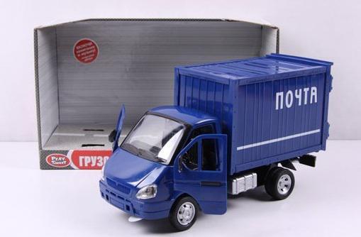 Фургон Play Smart Газель Почта инерционный со светом и звуком синий 24 см Р40517
