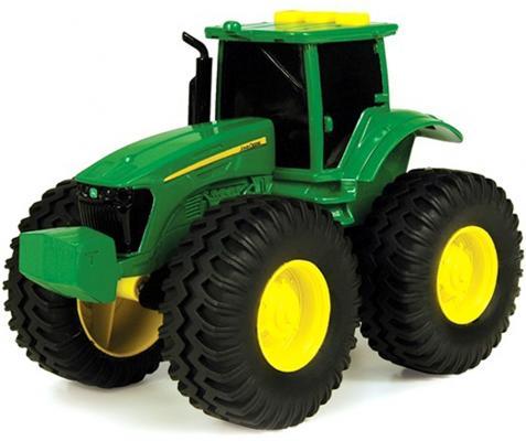 Трактор Tomy John Deere зеленый 19 см с большими колесами, звук, свет машины tomy трактор john deere 6210r