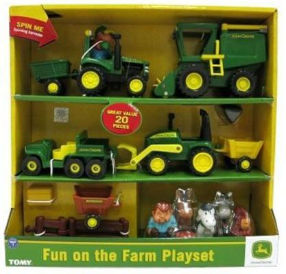 Игровой набор Tomy John Deere Веселая Ферма 20 предметов ТО42945 машины tomy john deere трактор monster treads с большими колесами и вибрацией