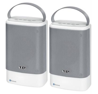Bluetooth-аудиосистема AEG BSS 4833 бело-серый портативная акустика aeg bss 4804 100вт bluetooth черный серый