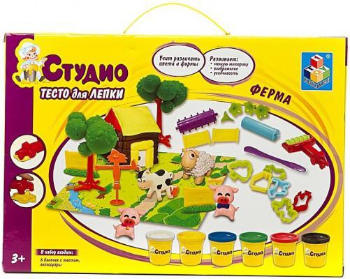 Набор теста для лепки 1 Toy Ферма с аксессуарами, 6 цветов