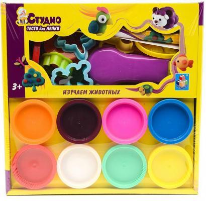 """Набор теста для лепки """"Животные"""", с аксессуарами, 8 цветов Т57492"""