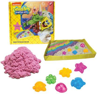 Купить 1toy Губка Боб, космический песок, розовый, 1 кг, набор песочница и формочки Т58200, Кинетический песок