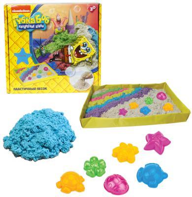 1toy Губка Боб, космический песок, голубой, 1 кг, набор песочница и формочки Т58199