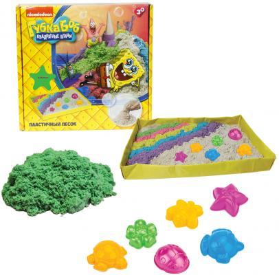 1toy Губка Боб, космический песок, зелёный, 1 кг, набор песочница и формочки Т58201