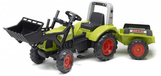 Трактор-экскаватор Falk педальный с прицепом зелёный 191 см falk квадроцикл falk красный педальный 84 см