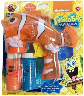 Набор 1Toy Губка Боб Пистолет механический со светом 2 бутылки по 50 мл Т58743