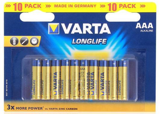 Батарейки Varta Longlife AAA 10 шт батарейки varta longlife aaa 24 шт