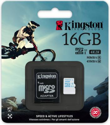 Карта памяти Micro SDHC 16GB Class 10 Kingston SDCAC/16GB + адаптер