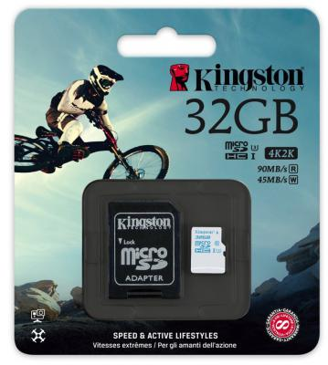 Карта памяти Micro SDHC 32Gb Class 10 Kingston SDCAC/32GB + адаптер SD