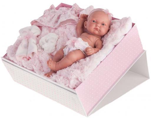 Кукла-младенец Munecas Antonio Juan Карла в чемодане, розовая 26 см 4068P