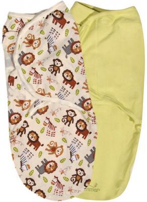 Конверты для пеленания на липучке размер S/M 2 шт. Summer Infant Swaddleme (джунгли/54070) summer infant 54000 конверт swaddleme для пеленания на липучке размер s m 3 шт нейтральная пчелки