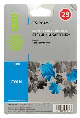 Картридж Cactus CS-PGI29C для Canon Pixma Pro-1 голубой картридж совместимый для струйных принтеров cactus cs pgi29y желтый для canon pixma pro 1 36мл cs pgi29y