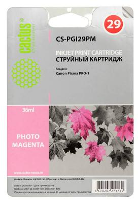 Картридж Cactus CS-PGI29PM для Canon Pixma Pro-1 фото пурпурный картридж cactus cs pgi29pm для canon pixma pro 1 фото пурпурный