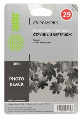 Картридж Cactus CS-PGI29PBK для Canon Pixma Pro-1 фото черный cactus cs pgi29pc photo cyan картридж струйный для canon pixma pro 1