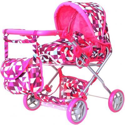 Купить Коляска для кукол RT цвет розовые ромбы 9663-1, Аксессуары для кукол