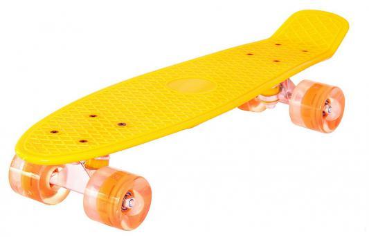 "Скейтборд Pennyboard Classic 22"" 56x15 YQHJ-11 пластик со светящимися колесами цвет оранжевый 146314"