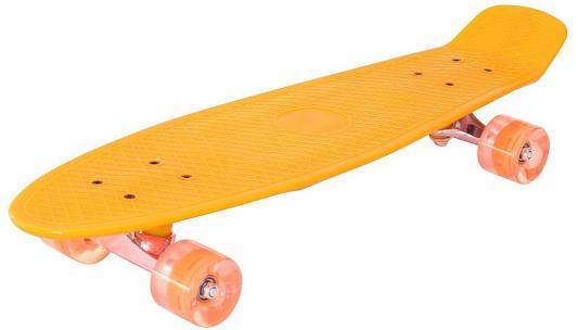 "Скейтборд Pennyboard Classic 26"" 67х18 YWHJ-28 пластик со светящимися колесами цвет оранжевый 146315"