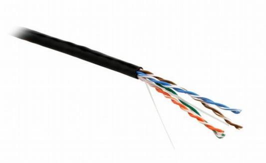 Кабель Lanmaster UTP level 5E 4 пары PVC 200 MHz черный 24AWG 305м LAN-5EUTP-BK кабель lanmaster utp level 5e 4 пары pvc 200 mhz 305м синий 24awg lan 5eutp bl