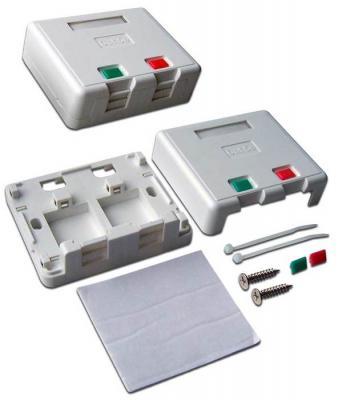 Коробка Lanmaster LAN-SA2/S-WH SA на 2 модуля keystone с защитными шторками