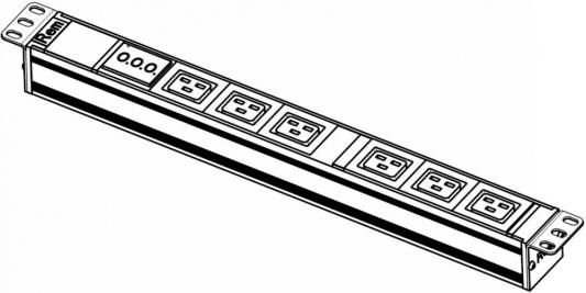 Блок розеток ЦМО R-32-6C19-AM-440-K серебристый черный 6 розеток