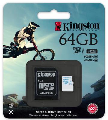 Карта памяти Micro SDXC 64Gb Class 10 Kingston SDCAC/64GB + адаптер SD
