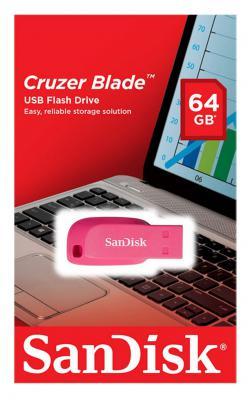 Флешка USB 64Gb SanDisk Cruzer Blade SDCZ50C-064G-B35PE розовый usb flash drive 64gb sandisk cruzer blade cz50 sdcz50c 064g b35ge