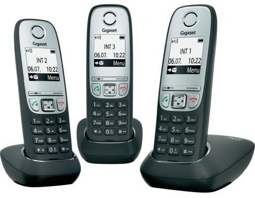 Радиотелефон DECT Gigaset A415 Trio серебристо-черный телефон беспроводной dect gigaset a415 white