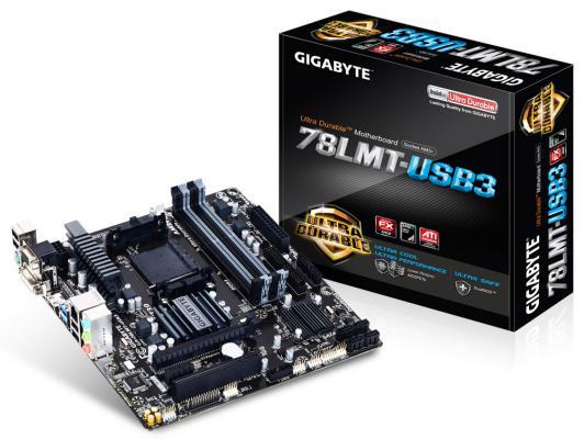 Мат. плата для ПК GigaByte GA-78LMT-USB3 Socket AM3+ 760G 4xDDR3 1xPCI-E 16x 1xPCI 1xPCI-E 1x 6xSATAIII mATX Retail