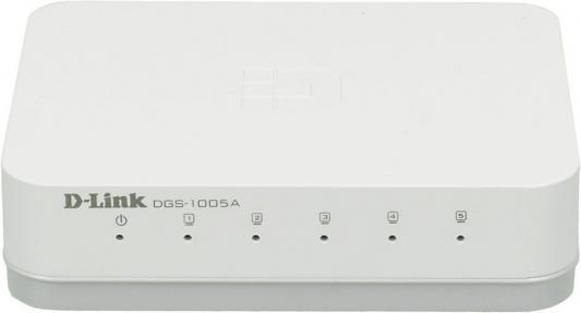 Коммутатор D-LINK DGS-1005 неуправляемый 5 портов 10/100/1000Mbps