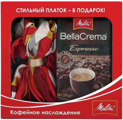 Кофе Melitta BellaCrema Espresso 250г  подарочный набор  с платком 70*70 46111