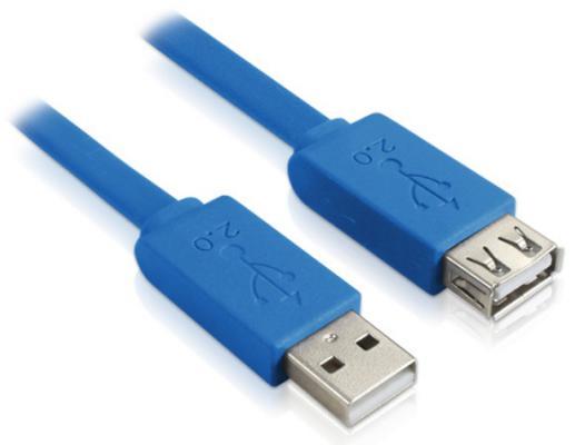 Green Connection Кабель удлинительный USB 2.0 AM-AF 1.5м Greenconnect плоский синий GCR-UEC2M2-BD-1.5m