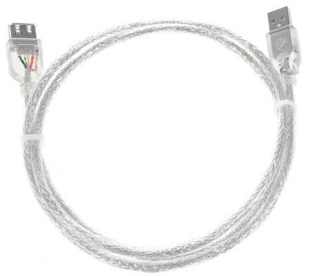 Кабель удлинительный USB 2.0 AM-AF 1.8м Greenconnect двойное экранирование прозрачный GCR-UEC2M-BD2S-1.8m