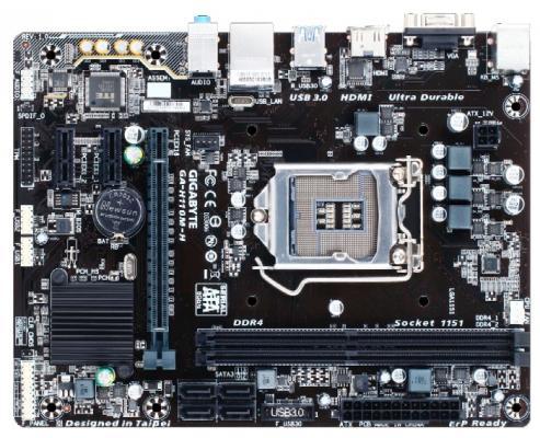 Материнская плата GigaByte GA-H110M-H Socket 1151 H110 2xDDR4 1xPCI-E 16x 2xPCI-E 1x 4 mATX Retail материнская плата asus h110m k soc 1151 intel