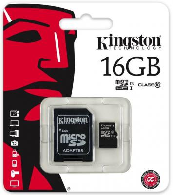 Карта памяти Micro SDHC 16GB Class 10 Kingston SDCIT/16GB + адаптер SD цена 2017