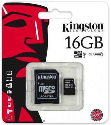 Карта памяти Micro SDHC 16GB Class 10 Kingston SDCIT/16GB + адаптер SD