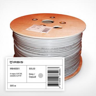 Кабель SF/UTP indoor 4 пары категория 5e Irbis одножильный 4x2xAWG24 100% медь PVC серый 305м IRB40001