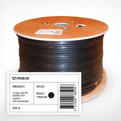 Кабель F/UTP outdoor 4 пары категория 5e Irbis одножильный 4x2xAWG24 100% медь PE T-FG8 черный трос 305м IRB20041