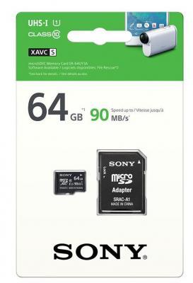 Карта памяти Micro SDXC 64Gb Class 10 Sony SR64UY3AT + адаптер SD