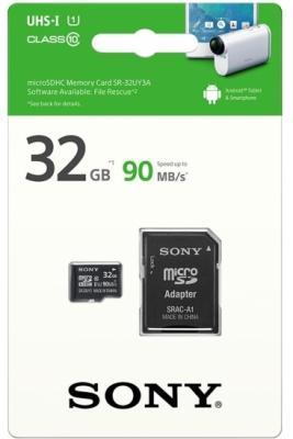 Карта памяти Micro SDHC 32Gb Class 10 Sony SR32UY3AT + адаптер SD