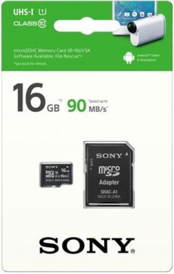 Карта памяти Micro SDHC 16Gb Class 10 Sony SR16UY3AT + адаптер SD